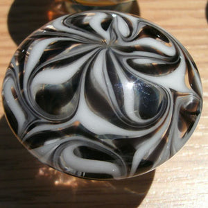 Cabinet Knob, Glass Drawer Pull, Black and White DP012 Hand Blown Glass