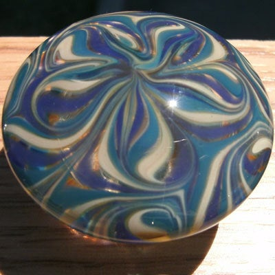Cabinet Knob, Glass Drawer Pull, Blue, Turquoise, Tan DP007, Hand Blown Glass