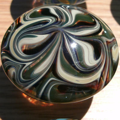 Cabinet Knob, Glass Drawer Pull, Green, Ivory and Black DP004 Hand Blown Glass
