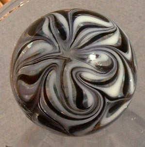 Round, Cabinet Knob, Glass Drawer Pull, Black and White DP012  Round, Hand Blown Glass