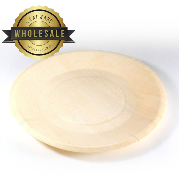 "WHOLESALE - 6"" Round Poplar Wood Plate  (200 count/case)"