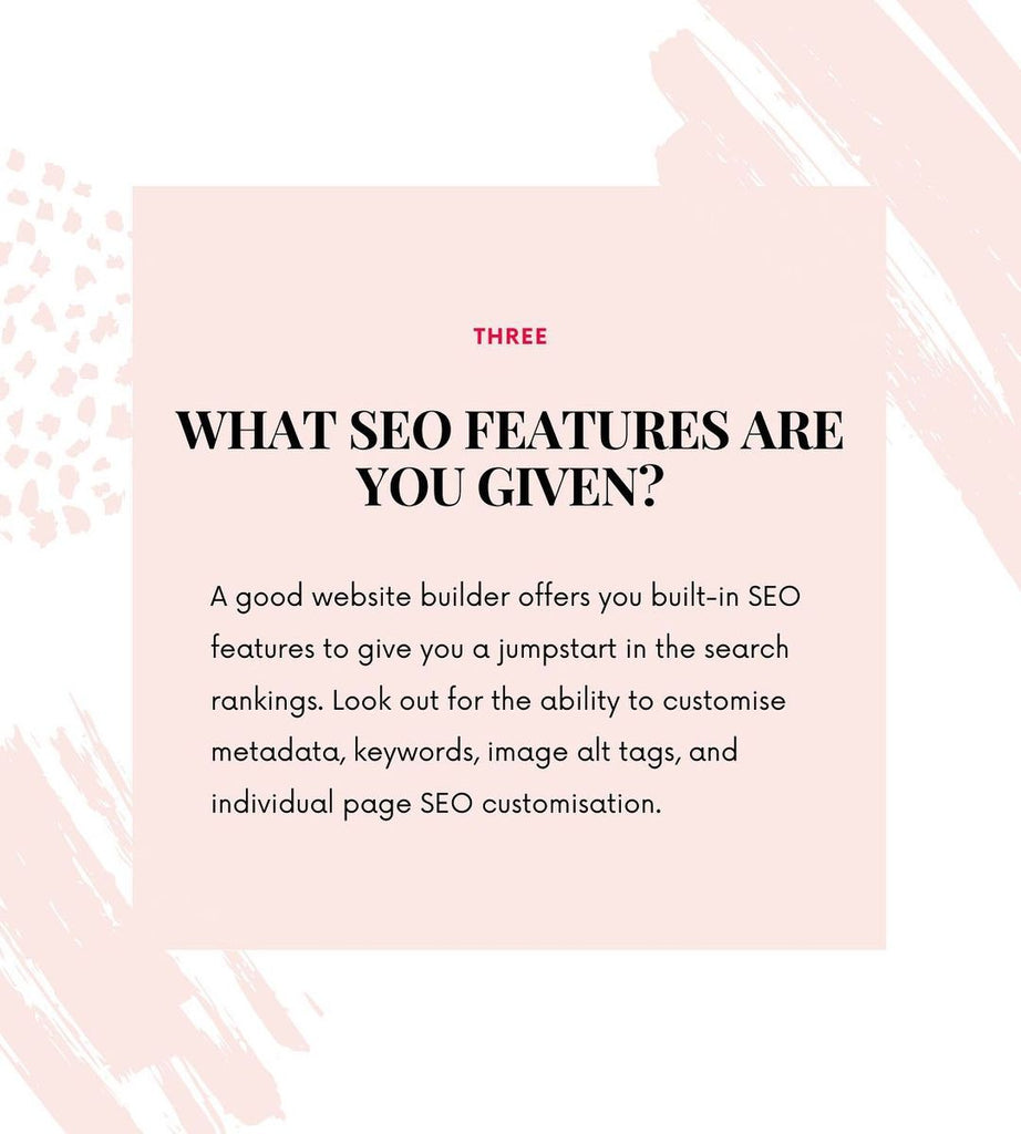 What SEO features are you given