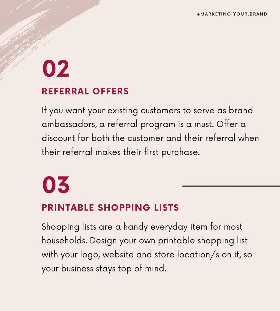 referrals offers and printable shopping lists