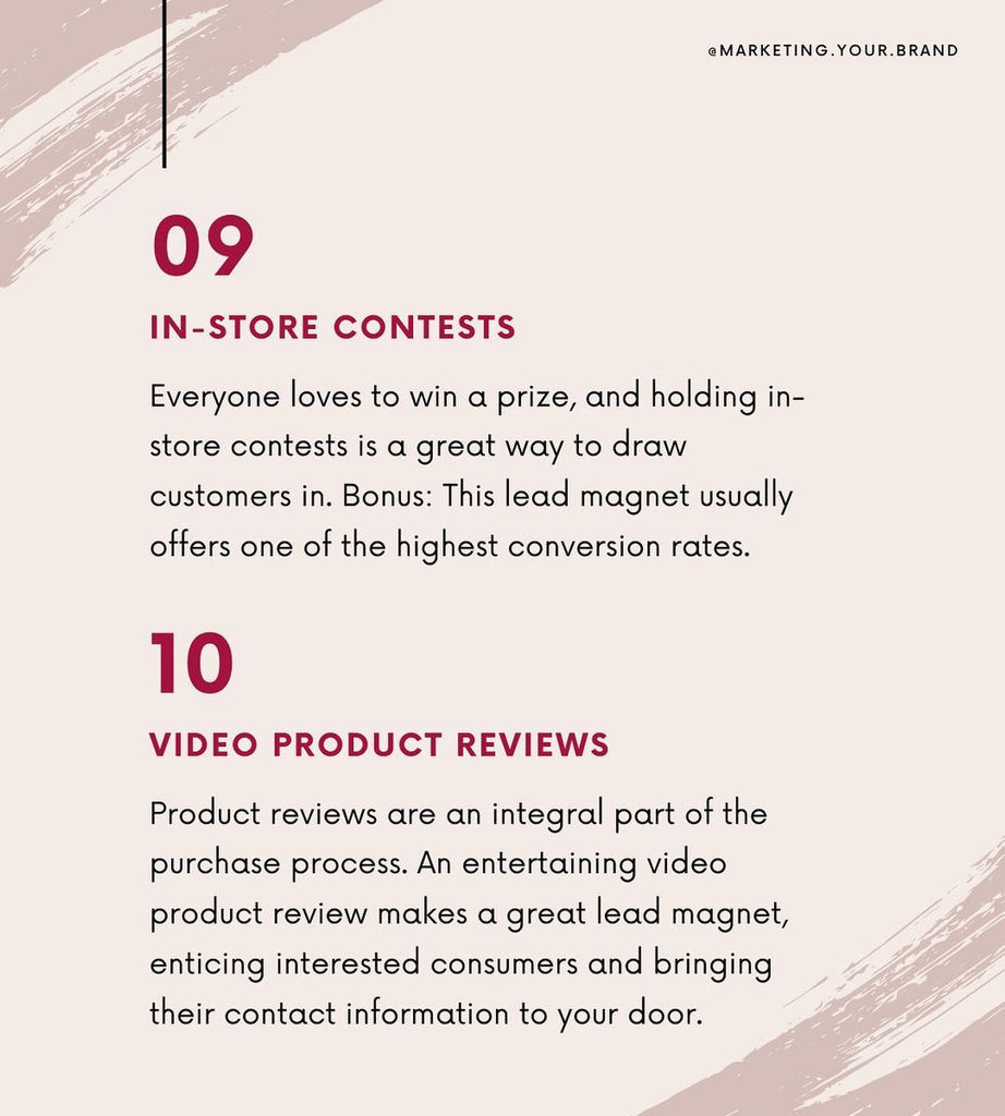 In-store contests and Video product reviews