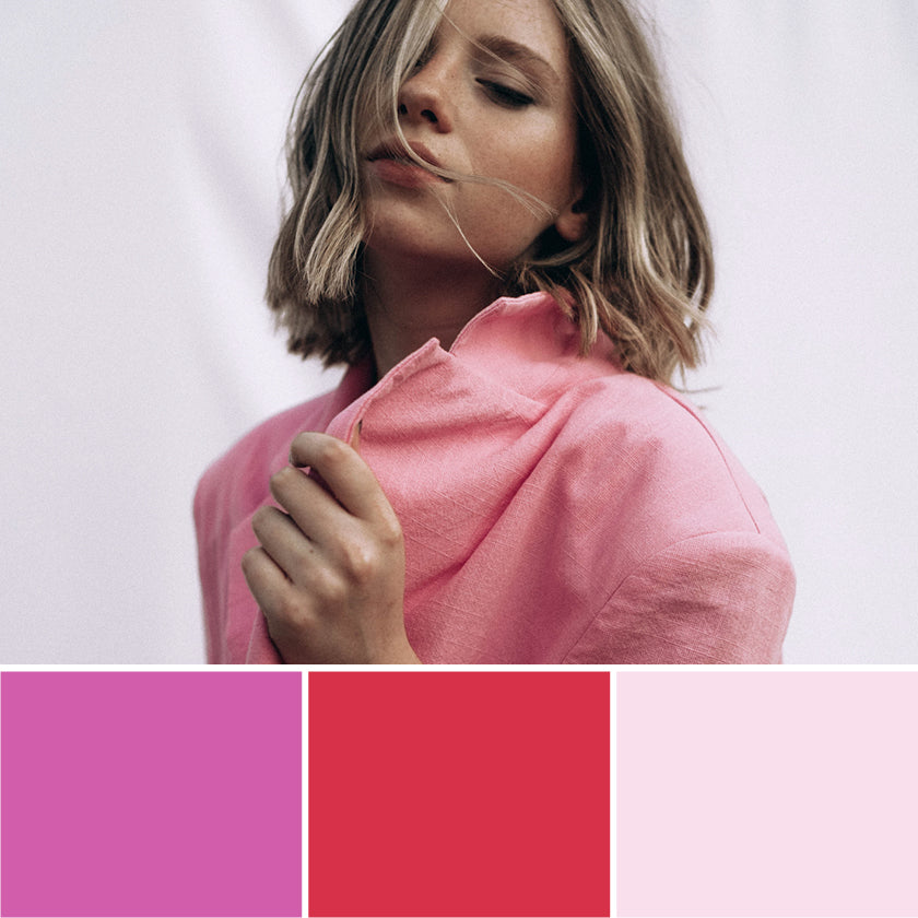 pink, red & pale pink