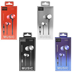 Universal Metallic Sports Earbuds w/Microphone $1.75 each / packed 60 pcs per case