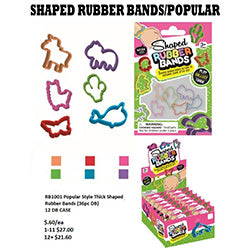 Popular Style Thick Shaped Rubber Bands $.75 each / packed 144 pcs per case