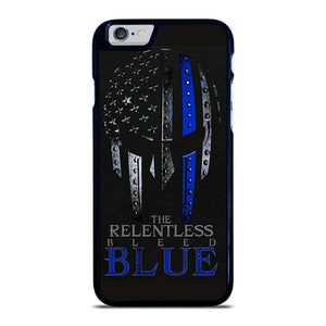 BLUE LINE POLICE WARRIOR SKULL iPhone 6 / 6S hoesje