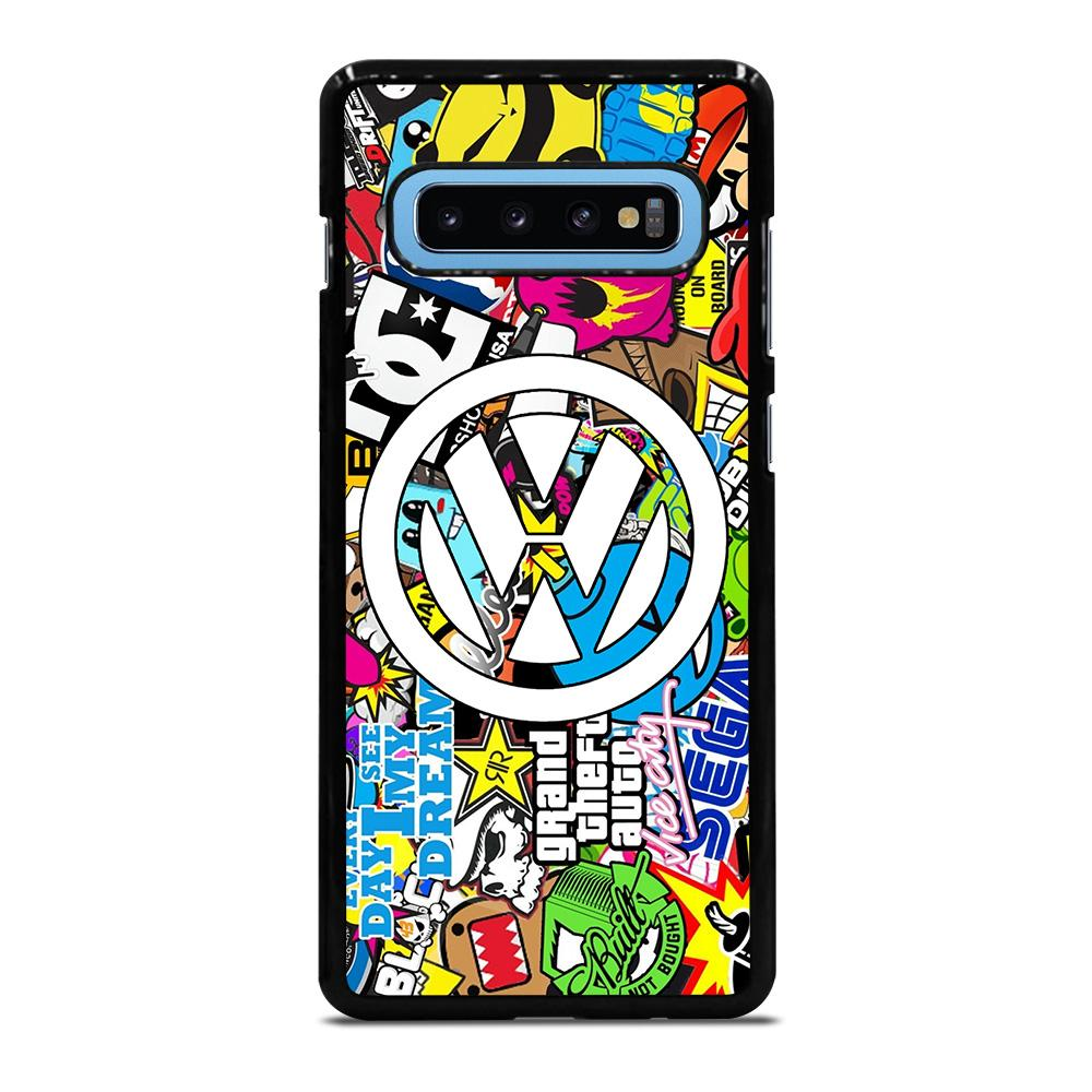 VW STICKER BOMB LOGO Samsung Galaxy S10 Plus Hoesje
