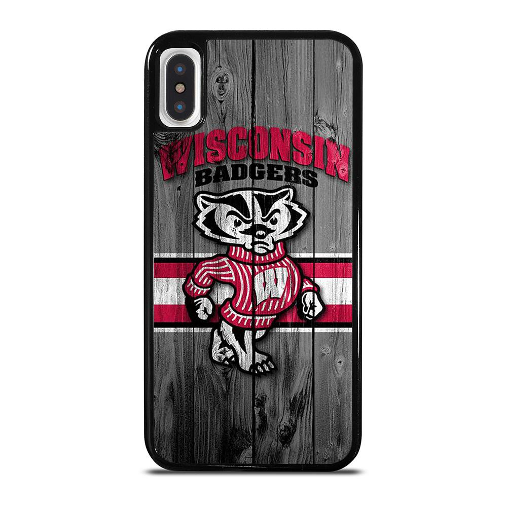 WISCONSIN BADGER WOODEN LOGO iPhone X / XS Hoesje