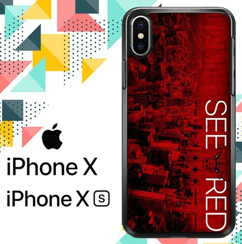 SEE RED Chicago Bulls Playoffs Z4811 hoesjes iPhone X, XS