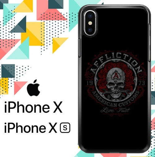 AFFLICTION INDIAN SKULL LOGO Z5106 hoesjes iPhone X, XS