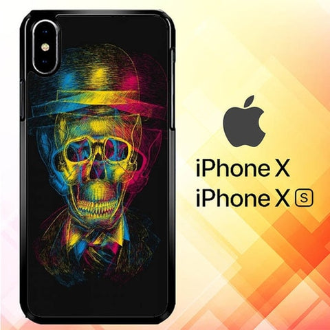 Colorfull Overlap Skull In Hat P1009 hoesjes iPhone X, XS