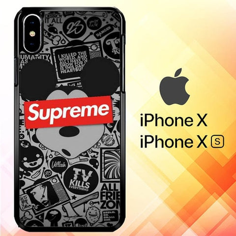 Mickey Mouse Supreme P1089 hoesjes iPhone X, XS