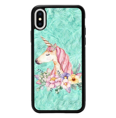 Cute Unicorn Painting P2007 hoesjes iPhone X, XS