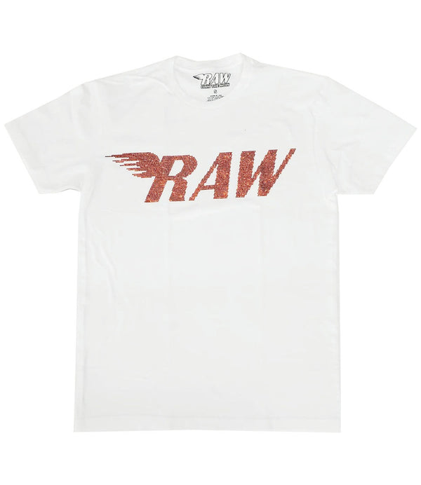 RAW Red Bling Crew Neck - White