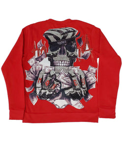 HATA Skull Hand Made Sequin Long Sleeves - Red