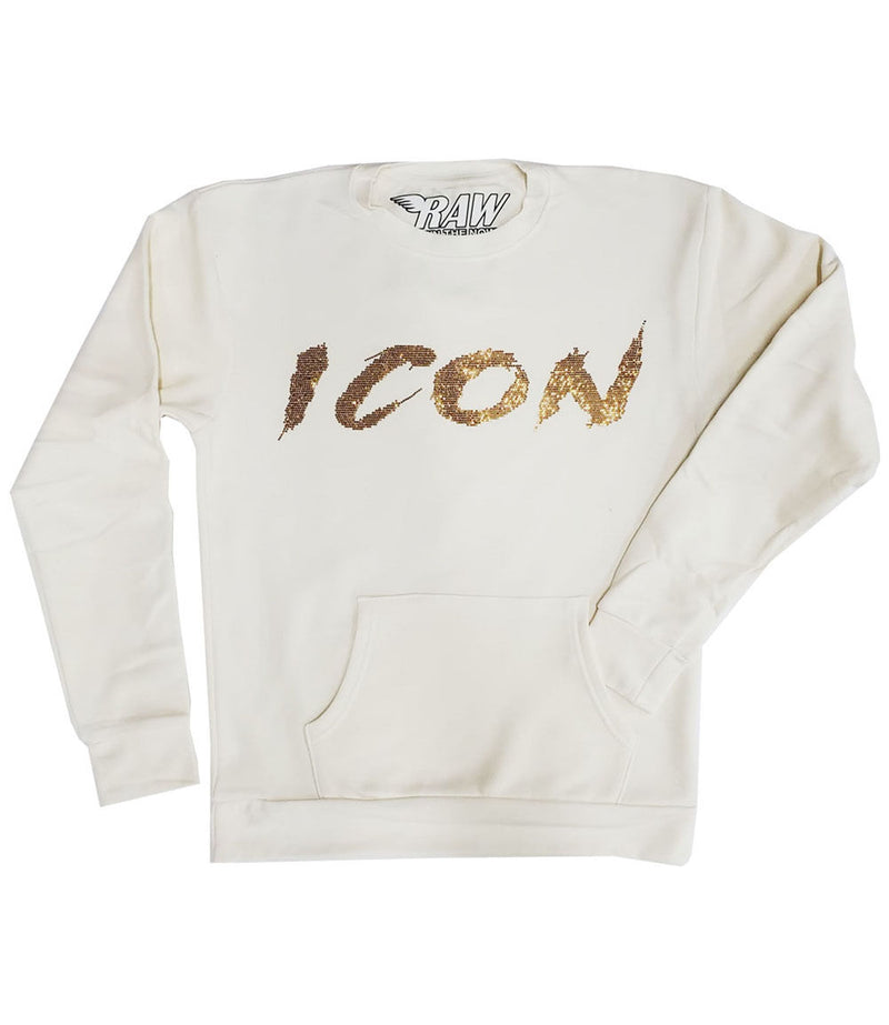 Cursive ICON Gold Bling Long Sleeves - Cream