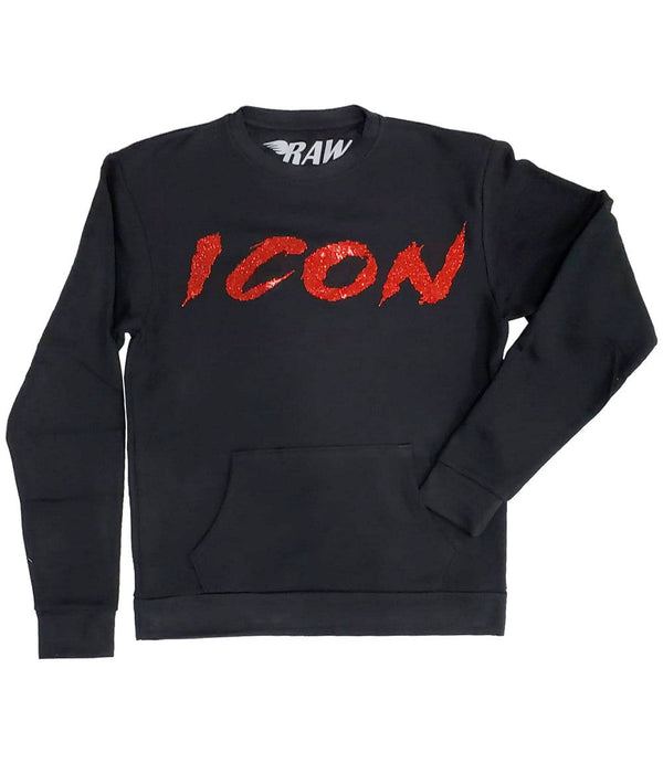 Cursive ICON Red Bling Long Sleeves - Black