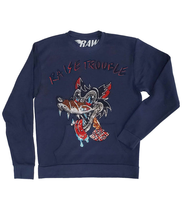 Raise Trouble Wolf Bling Long Sleeves - Navy