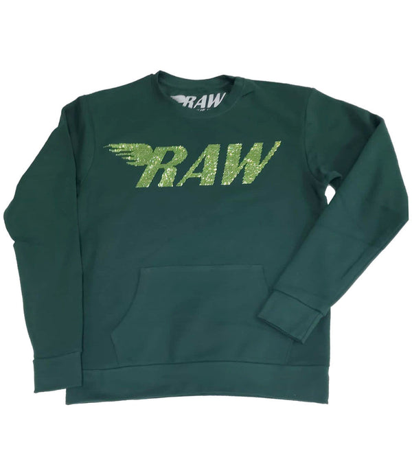 RAW Light Green Bling Long Sleeves - Forest Green