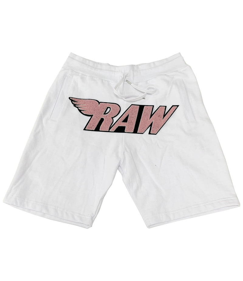 RAW Pink Chenille Cotton Shorts - White