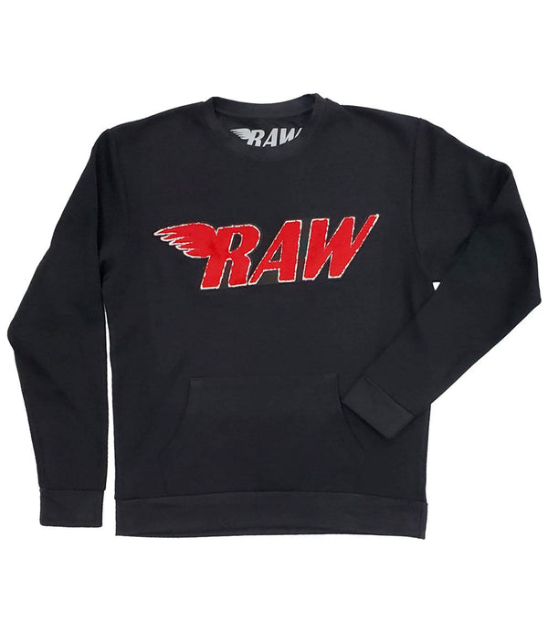 RAW Red Chenille Long Sleeves - Black