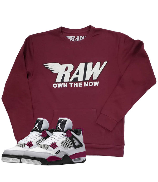 RAW White Chenille Long Sleeves - Maroon
