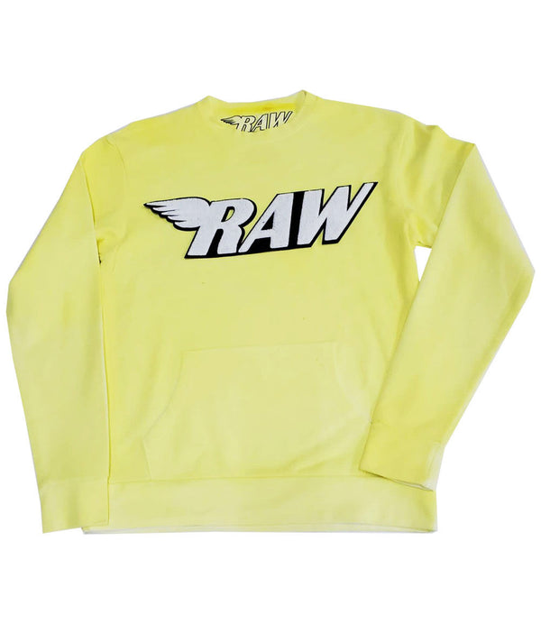 RAW White Chenille Long Sleeves - Yellow Dye