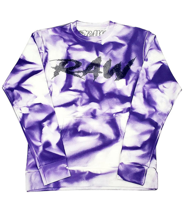 Cursive RAW Black Bling Long Sleeves - Dye Purple