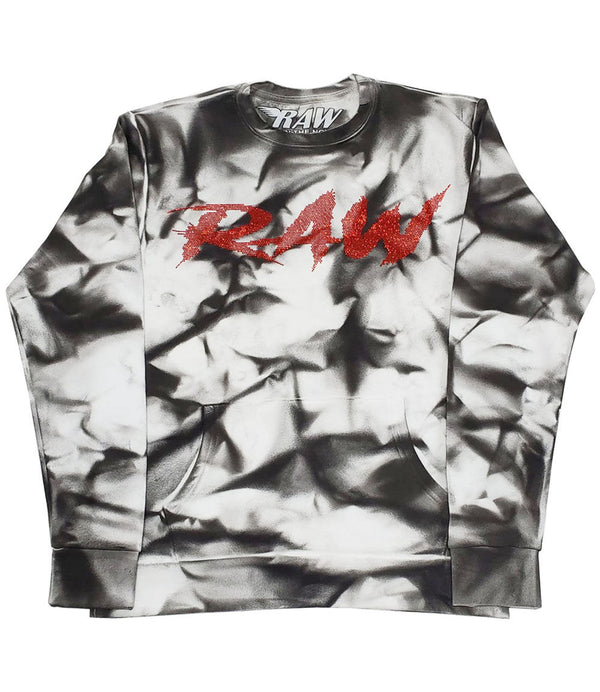 Cursive RAW Red Bling Long Sleeves - Dye Black