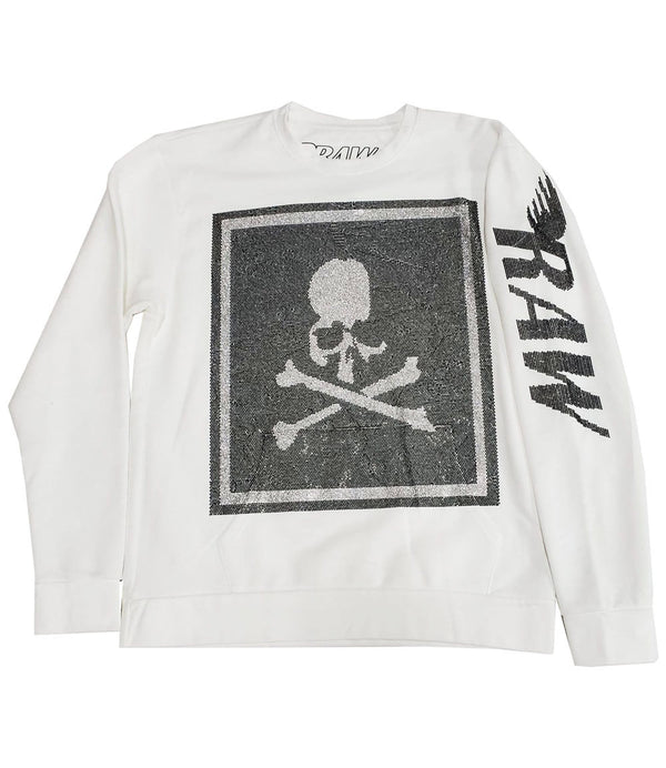 Skull Frame Black Bling Long Sleeves - White