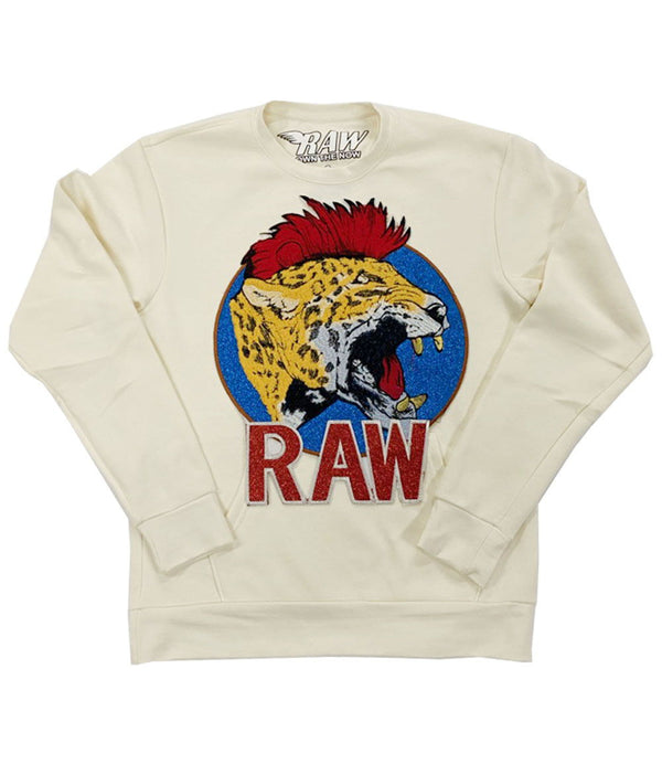 Red Mohawk Tiger Embroidery Patch Long Sleeves - Cream