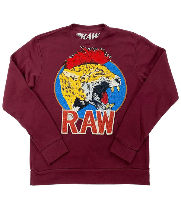 Red Mohawk Tiger Embroidery Patch Long Sleeves - Maroon