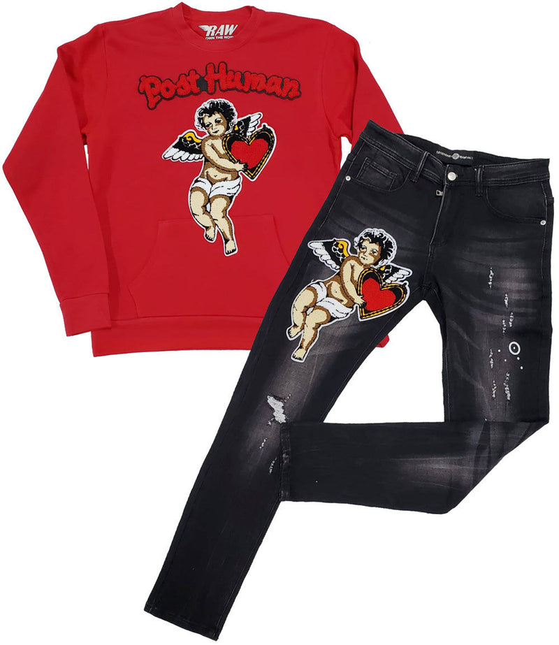 Post Human Angel Chenille Long Sleeves and Angel Chenille Denim Jeans Set - Red Shirts / Black Jeans