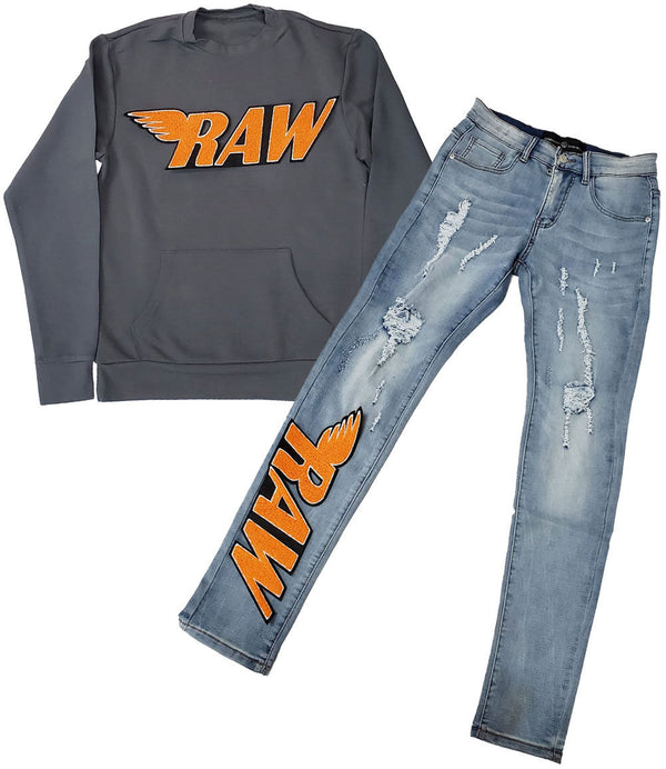 RAW Orange Chenille Long Sleeves and Denim Jeans Set - Heavy Metal Shirts / Blue Jeans