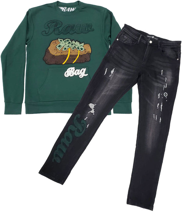 RAW Bag Chenille Long Sleeves and Denim Jeans Set - Forest Green Shirts / Black Jeans