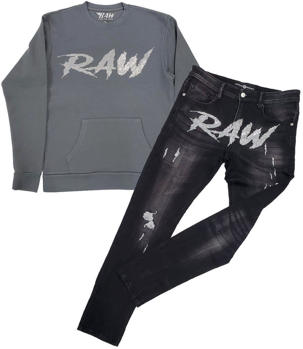 Cursive RAW AB. Clear Bling Long Sleeves and Denim Jeans Set - Heavy Metal Shirts / Black Jeans
