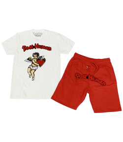 Angel Chenille Crew Neck and Cotton Shorts Set