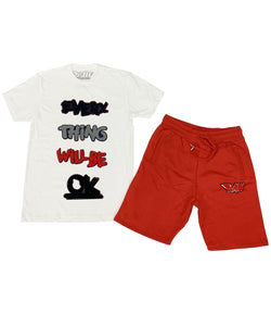 Everything Will Be Okay Chenille Crew Neck and Cotton Shorts Set