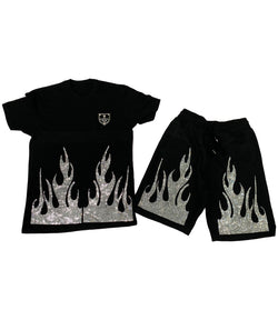 Flame Bling Crystal Crew Neck and Cotton Shorts Set