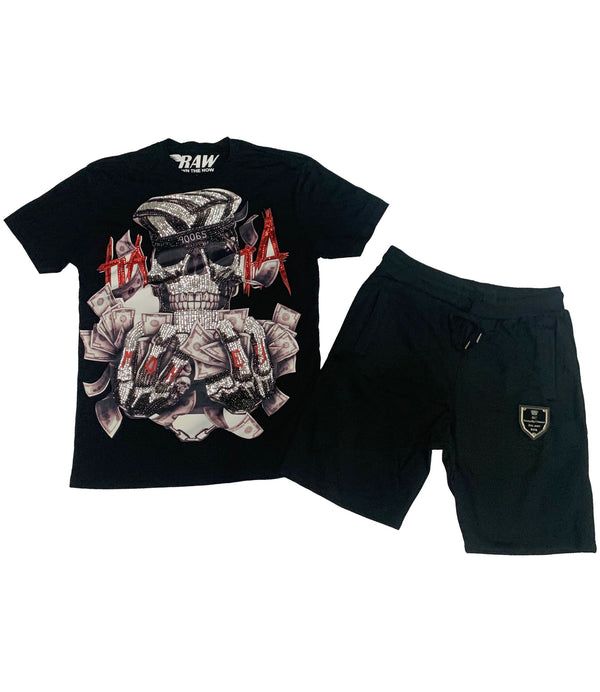 Hata Skull Hand Made Sequin Cerw Neck and Cotton Shorts Set - Black Tees / Black Shorts
