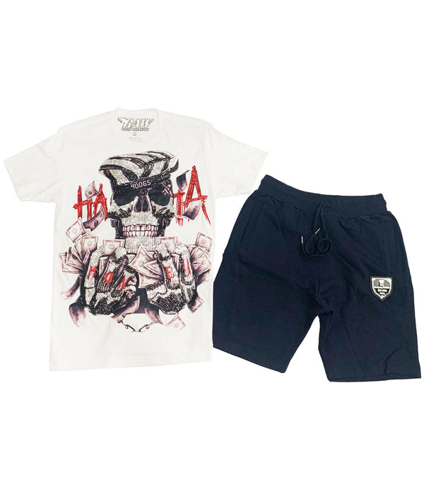 Hata Skull Hand Made Sequin Cerw Neck and Cotton Shorts Set - White Tees / Navy Shorts