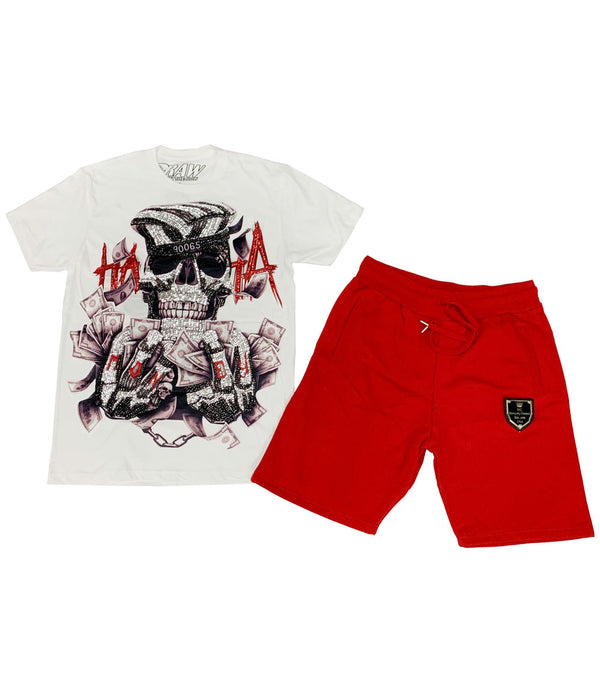 HATA Skull Hand Made Sequin Crew Neck and Cotton Shorts Set - White Tees / Red Shorts