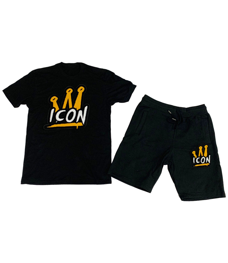 Icon Crown Chenille Crew Neck and Cotton Shorts Set - Black Tees / Black Shorts