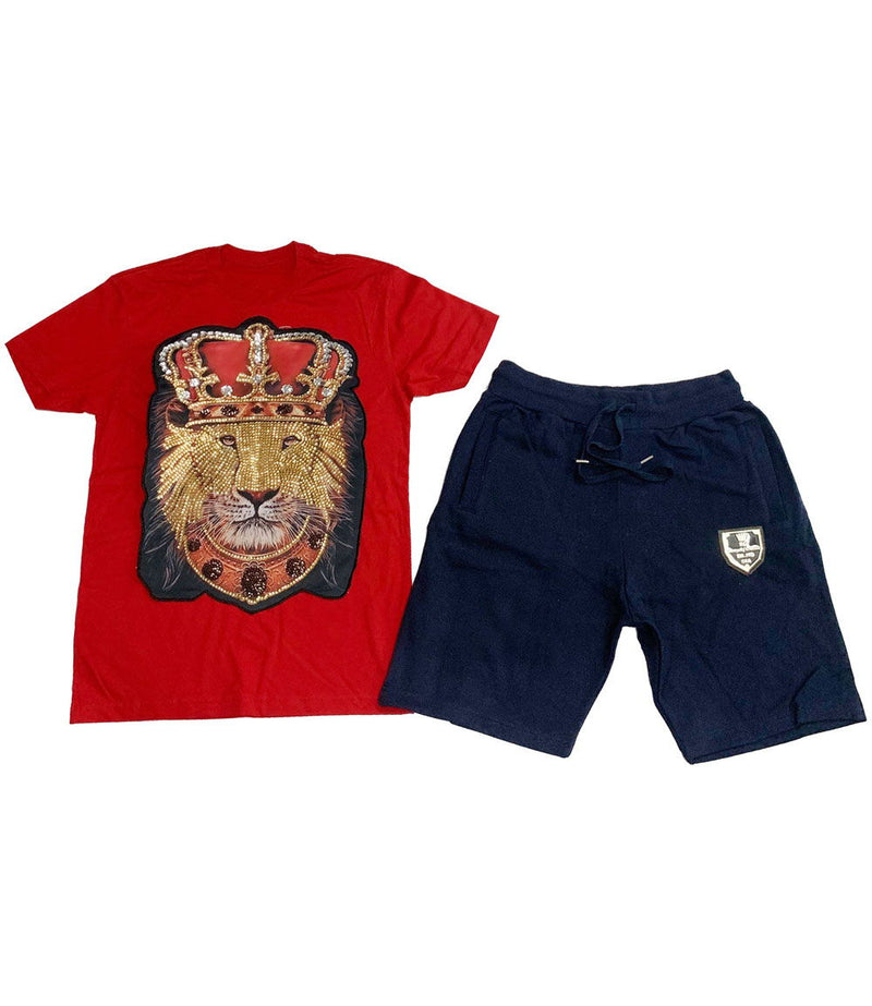 Lion Crown Hand Made Sequin Crew Neck and Cotton Shorts Set - Red Tees / Navy Shorts