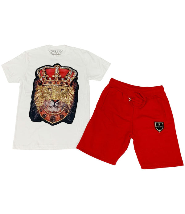 Lion Crown Hand Made Sequin Crew Neck and Cotton Shorts Set - White Tees / Red Shorts