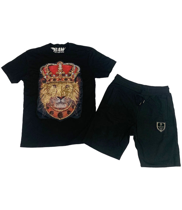 Lion Crown Hand Made Sequin Crew Neck and Cotton Shorts Set - Black Tees / Black Shorts