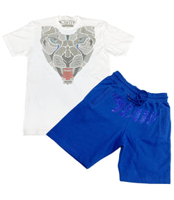 Panther Bling Crew Neck and RAW Montana Bling Cotton Shorts Set - White Tees / Royal Shorts