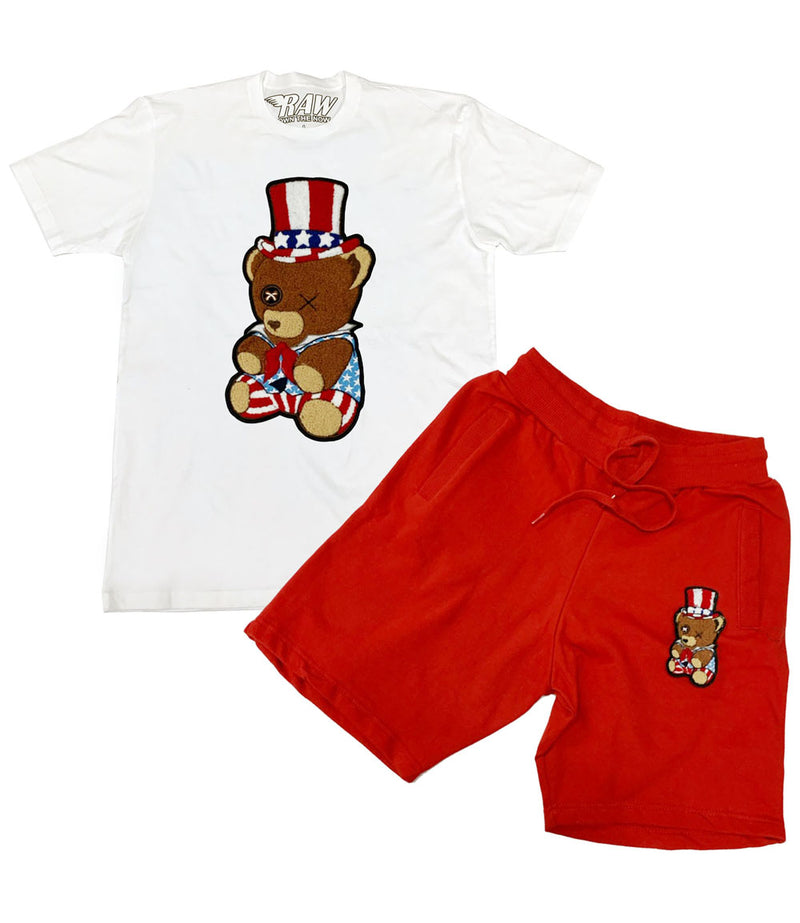 Patriot Teddy Chenille Crew Neck and Cotton Shorts Set
